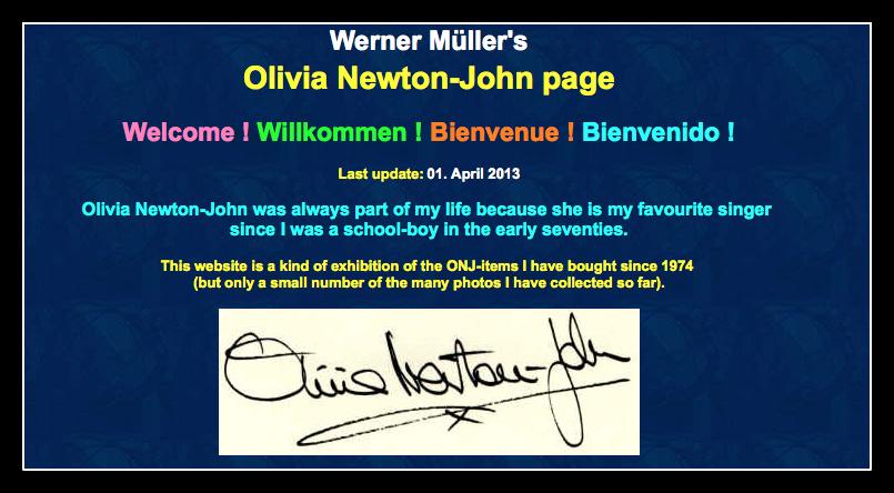 Werner Mueller's Olivia Newton-John Site
